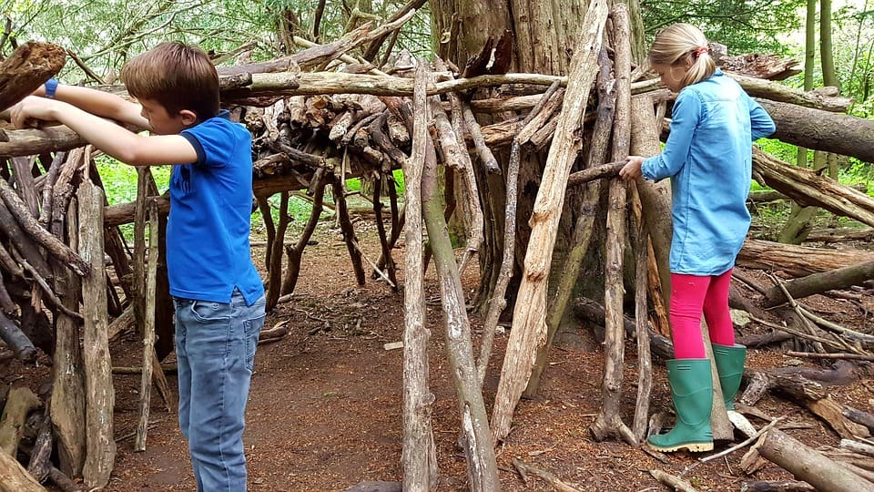girl and boy building a den out of sticks