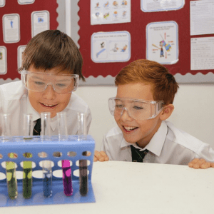 Children learning in science at St Peter's