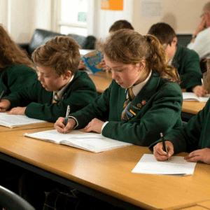 Children at St Peter's Prep School revising.
