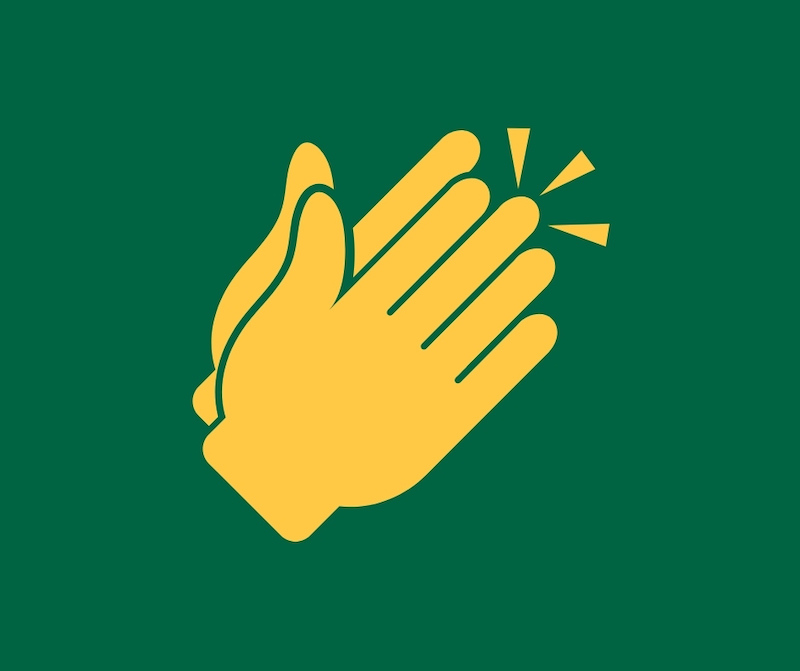 Icon of hands clapping in St Peter's Prep colours