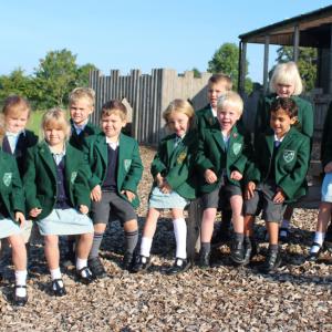 A group of school children