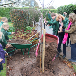 Eco-council at St Peter's Preparatory School planting a tree